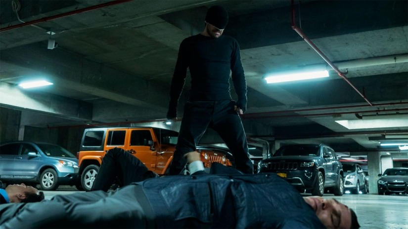 Matthew in black Daredevil Costume (Credit: Netflix)