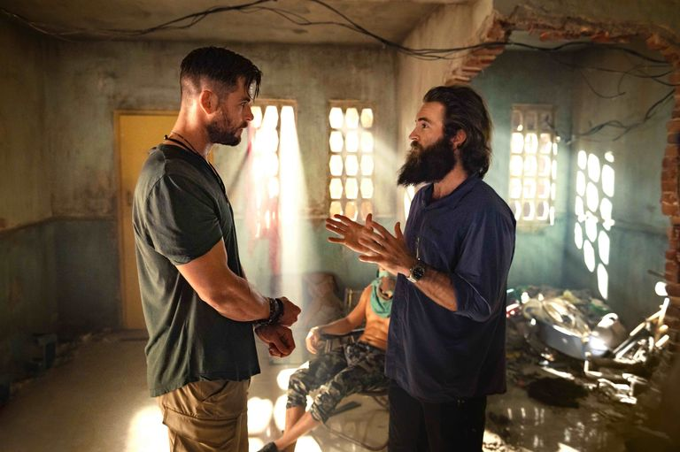Chris Hemsworth and Sam Hargrave on the set of Netflix action movie, Extraction.