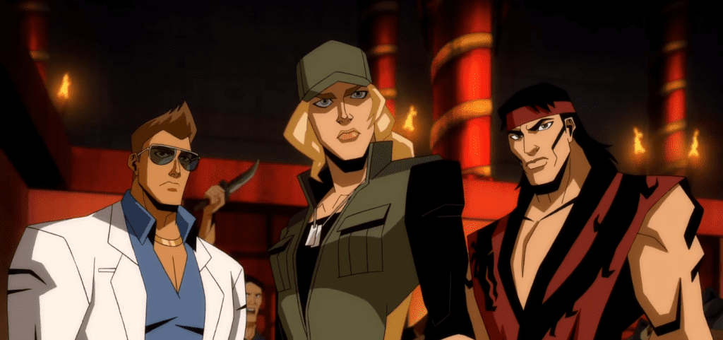 Liu Kang, Sonya Blade, and Johnny cage. (Mortal Kombat Legends: Scorpion's Revenge).